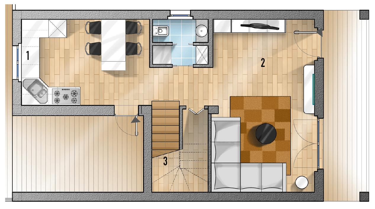 Progetti cucina due soluzioni per 7 mq cose di casa for Progetti di casa sollevati