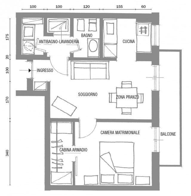 Bilocale di 40 mq casa mini comfort maxi cose di casa for Progetto casa 40 mq