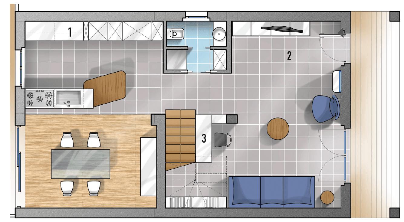 Progetti cucina due soluzioni per 7 mq cose di casa for Pianta di una casa