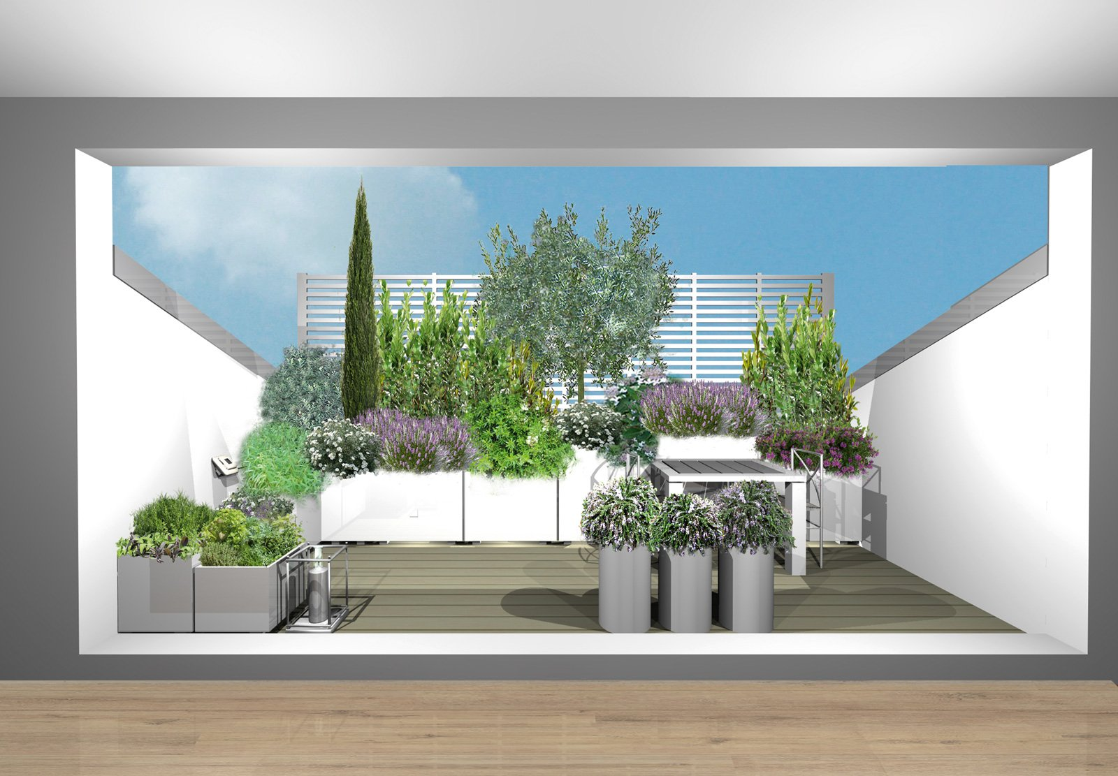 Progetto verde per il terrazzo nel tetto un angolo - Cucina sul terrazzo ...