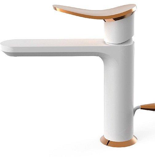 Il miscelatore monocomando Harlock di Huber (www.huberitalia.com) per il lavabo, nei colori snow white e rose gold, può essere configurato a piacere scegliendo tra un'ampia gamma di finiture e materiali, quali marmo e legno.