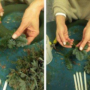 Tagliate in piccoli segmenti l'abete e l'eucalipto, di massimo 10 cm di lunghezza e pulite il gambo dall'eccedenza del verde.