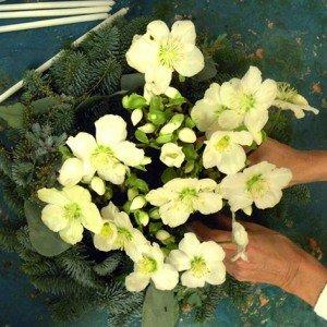 Prendete le piantine di Elleboro e le toglietele dal vaso per poi appoggiarle nella vaschetta. Ecco quasi pronto il vostro piccolo bosco incantato, da mettere nel centro della vostra tavola.