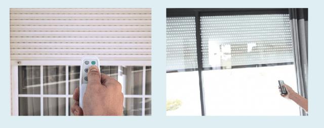 Impianto domotico applicato al sollevamento dei sistemi oscuranti dell'abitazione, controllabile con telecomando.