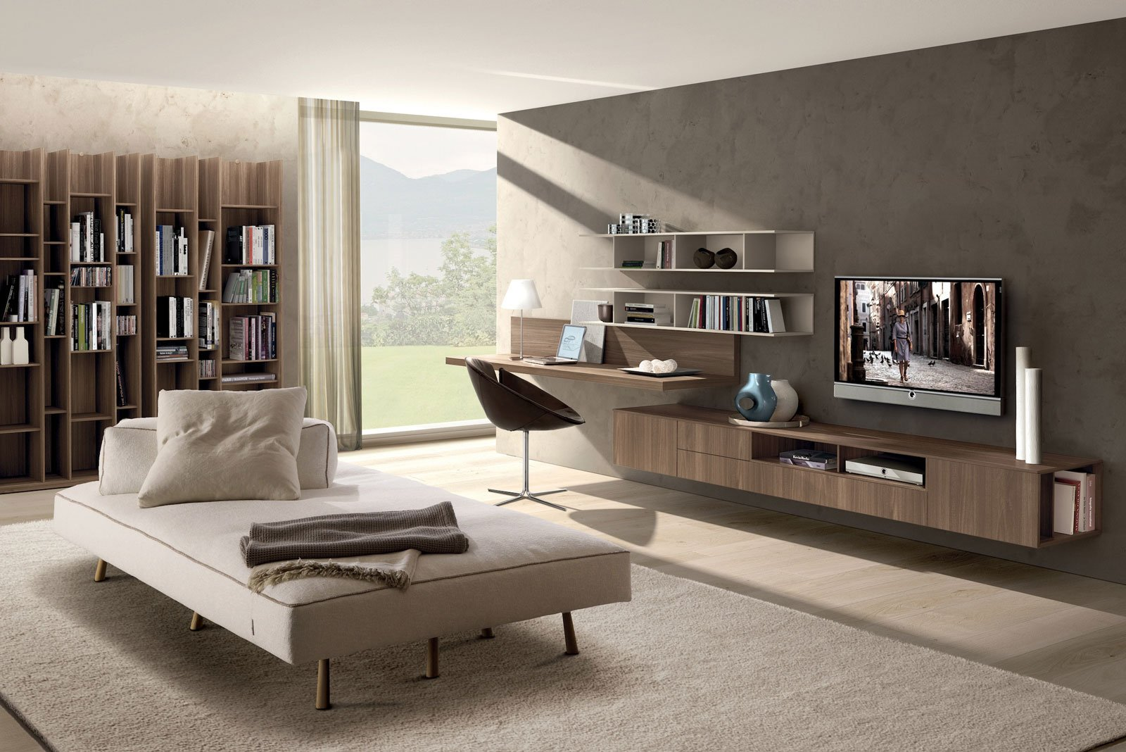 Angolo studio in soggiorno integrato nella libreria o in for Ad giornale di arredamento