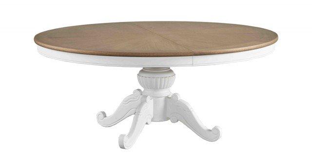 Il tavolo rotondo DB004846 di Dialma Brown ha il piano realizzato in pregiato rovere naturale, la base di sapore rétro è in legno di colore bianco. I materiali e la forma rispecchiano pienamente lo stile country. Misura ø 180 x H 77,50 cm. Prezzo su richiesta. www.dialmabrown.it