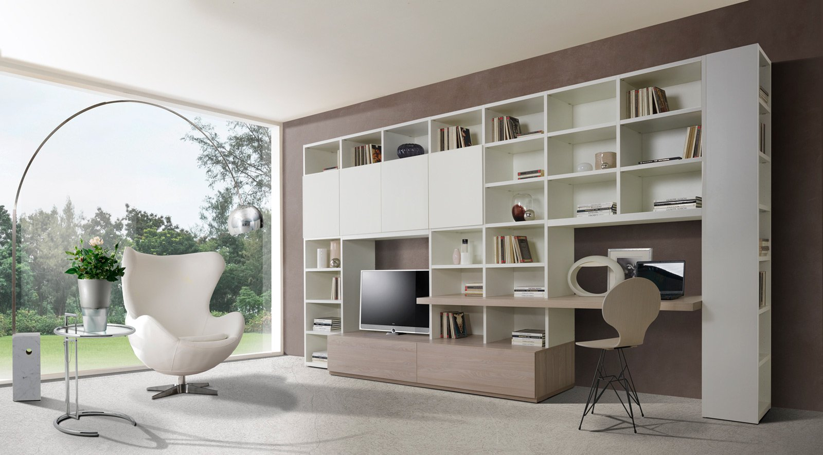 Angolo studio in soggiorno integrato nella libreria o in for Parete soggiorno ad angolo