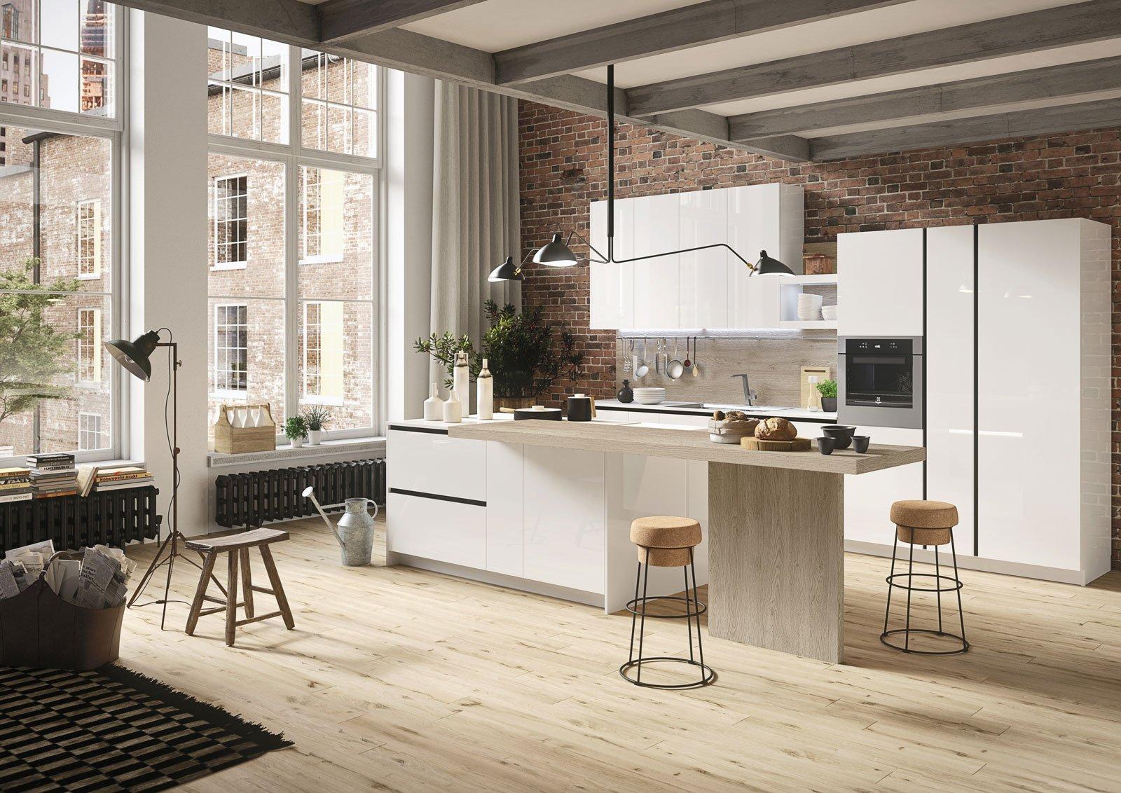 Cucine Con Bancone In Legno : Cucina realizzata su misura laccata opaca bianca con bancone in