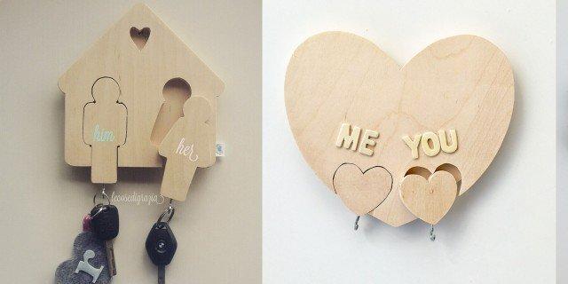 Il portachiavi in legno da parete