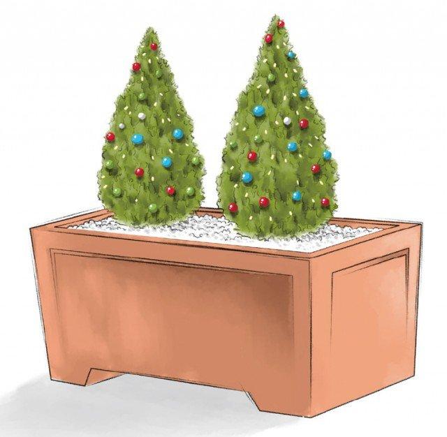 Bastano due conifere uguali da decorare con piccole palline di Natale colorate per creare allegre composizioni. Per rendere l'insieme più bello, basta coprire il terreno con sassolini bianchi o corteccia di pino. Si può anche porre un filo di lucine per decorare le piante, scegliendo prodotti certificati per l'uso all'aperto.