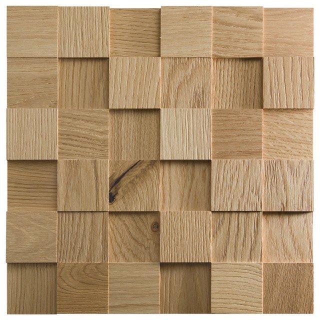 Il mosaico 3D della collezione Mosaico d'Asolo di CP Parquet è una piastrella realizzata da tozzetti di spessore variabile da 8,12 a 14 mm. In quattro sfumature diverse di rovere, wengé e teak. Da usare come rivestimento a parete, per realizzare boiserie tridimensionali. In vendita su foglio di 30 x 30 cm. Prezzo su richiesta. www.cpparquet.it