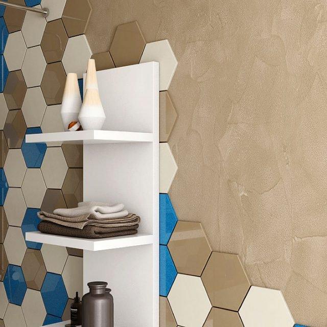 Con l'aggiunta dell'additivo Decor, il sigillante per fughe Starlike® di Litokol diventa rasante decorativo per pareti. In foto è proposto nel nuovo colore grigio Portland, con texture spatolato strutturato.