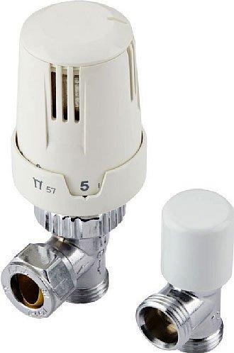 Sono in ottone cromato e in ABS bianco le valvole termostatiche Val02wat di Hudson Reed, per i radiatori con tubo ad angolo. La coppia (per un unico termosifone) costa 47 euro.