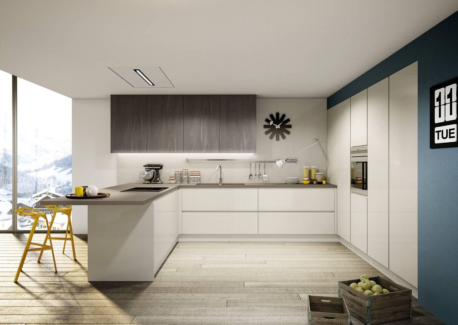 Cucine Per Ambienti Piccoli. Una Cucina Bianca Con Piano Da Lavoro ...