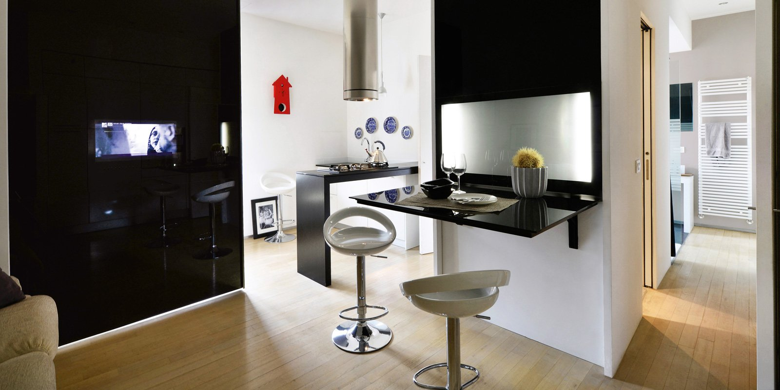 Bilocale black white 39 mq in stile minimal cose di casa - Arredare cucina 4 mq ...