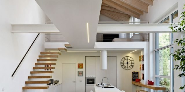 Cucina a vista e soggiorno insieme progetto in pianta for Piani di casa da sogno