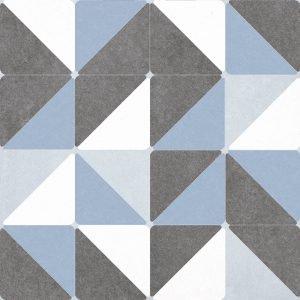 Il pavimento è la versione Deco Blue della serie Quilt di Iperceramica. È in gres porcellanato effetto cementine, con decori in differenti soggetti,  confezionati casualmente. I colori black e white al mq costano. 14,99 euro; i decori costano 17,99 euro.