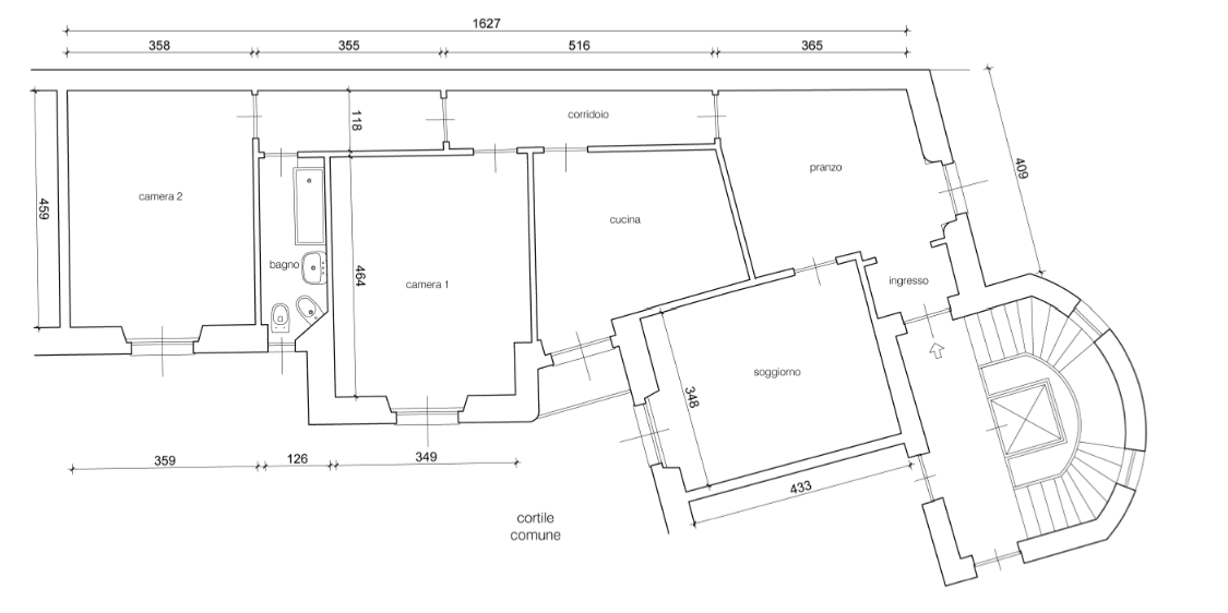 100 mq una casa a pianta irregolare ben risolta cose di for Fare una pianta della casa