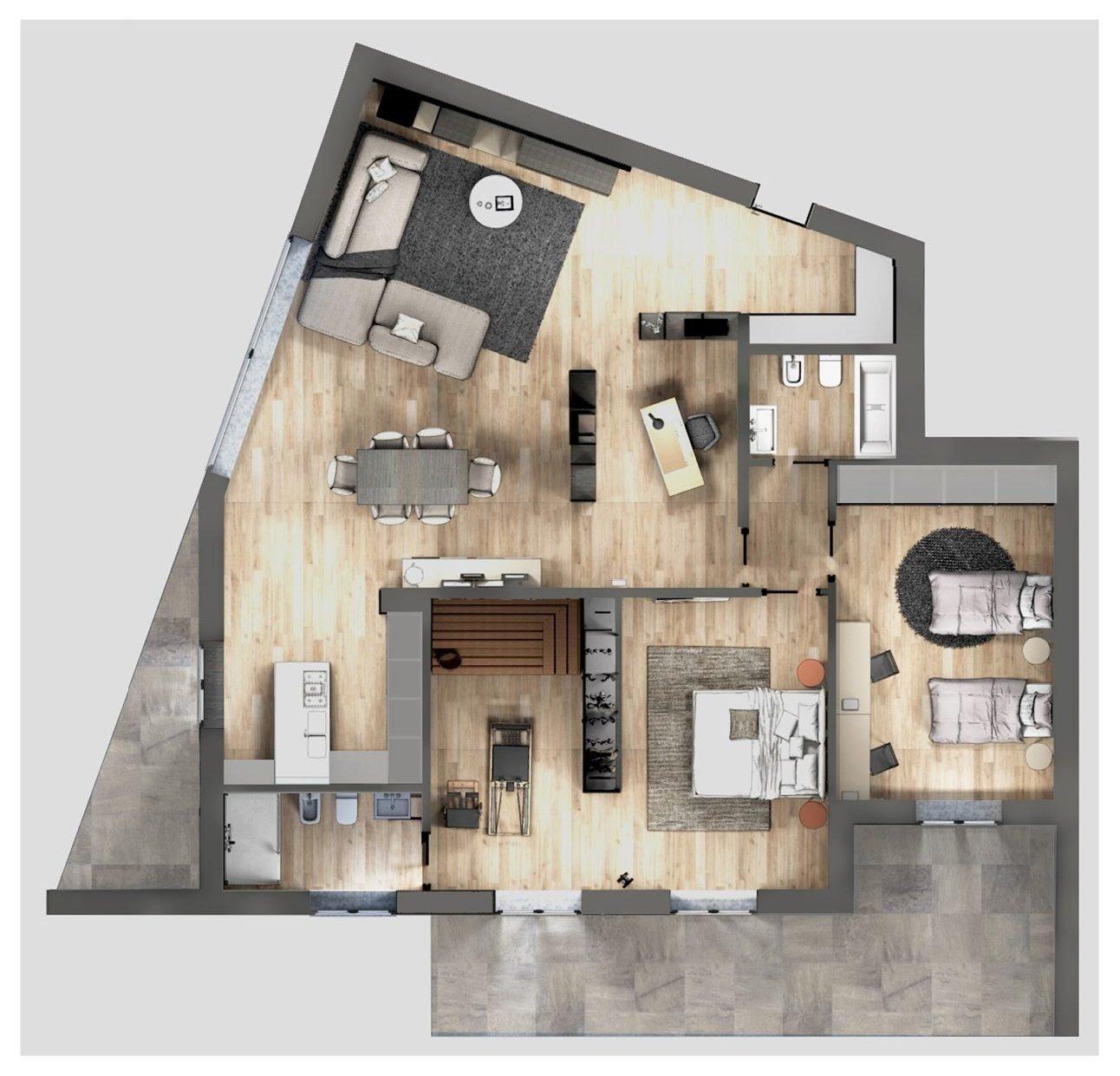 Progetto due stanze in una in soggiorno lo studio in for Progettare una stanza