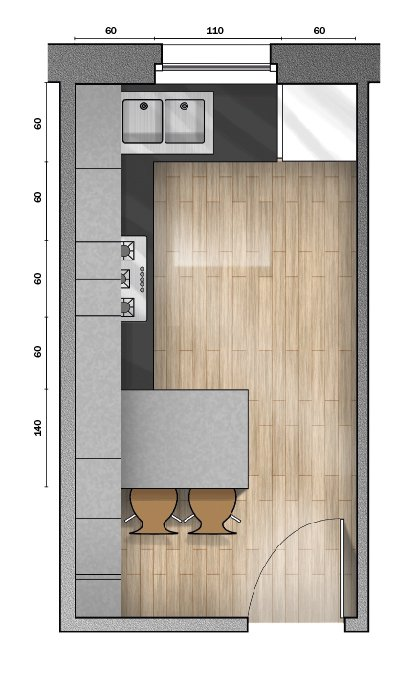 4 progetti cucina per 10 mq circa for Camera letto 3x4