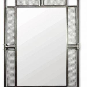 € 117  Ha la cornice in tubi di ferro e rete lo specchio rettangolare Idra di Novità Home, da appendere in orizzontale  e in verticale. Misura L 65 x H 90 cm.   www.novitahome.com