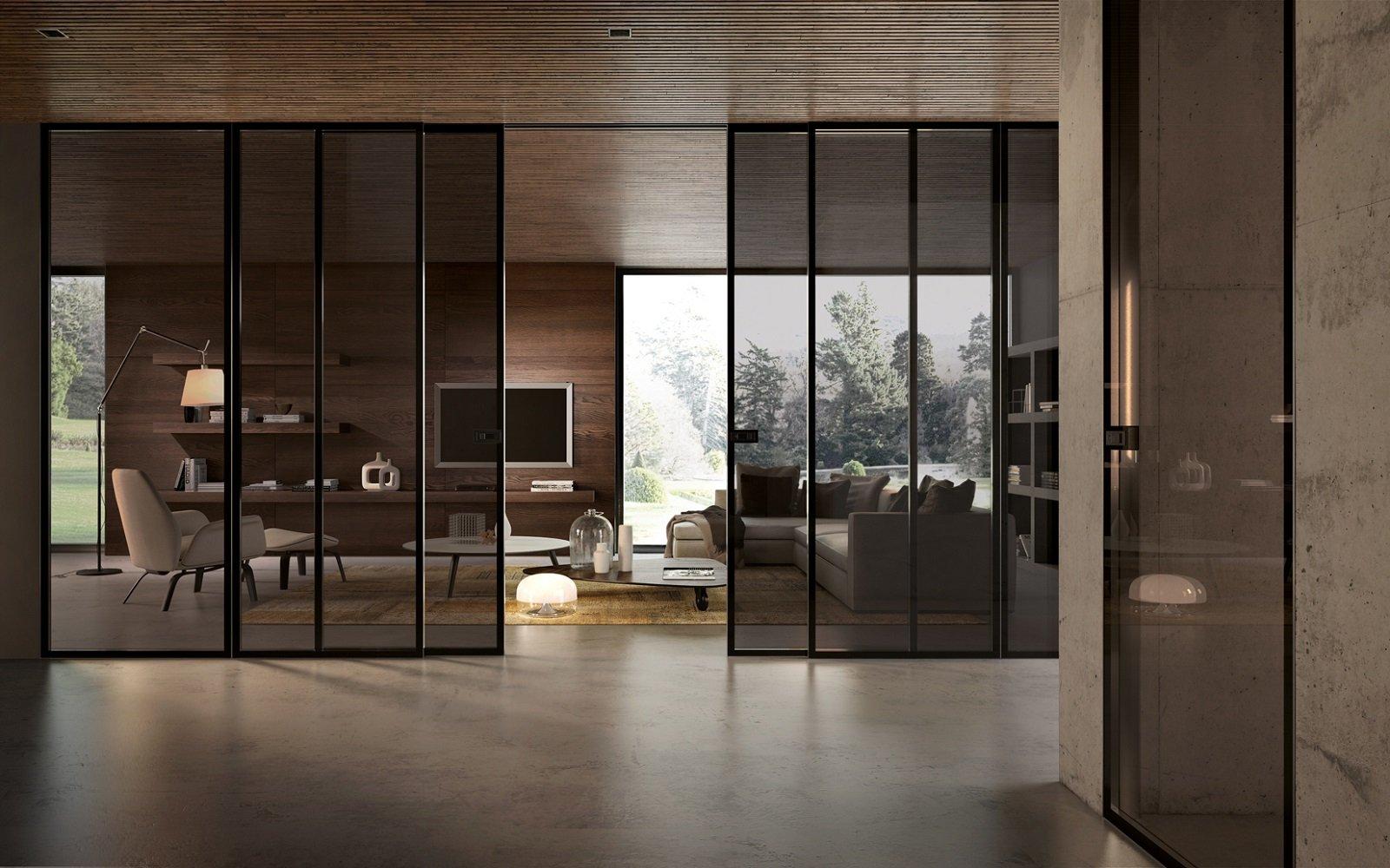 Per dividere gli ambienti o trasformarli in un unico spazio le porte scorrevoli di grandi - Porte a scorrimento esterno ...
