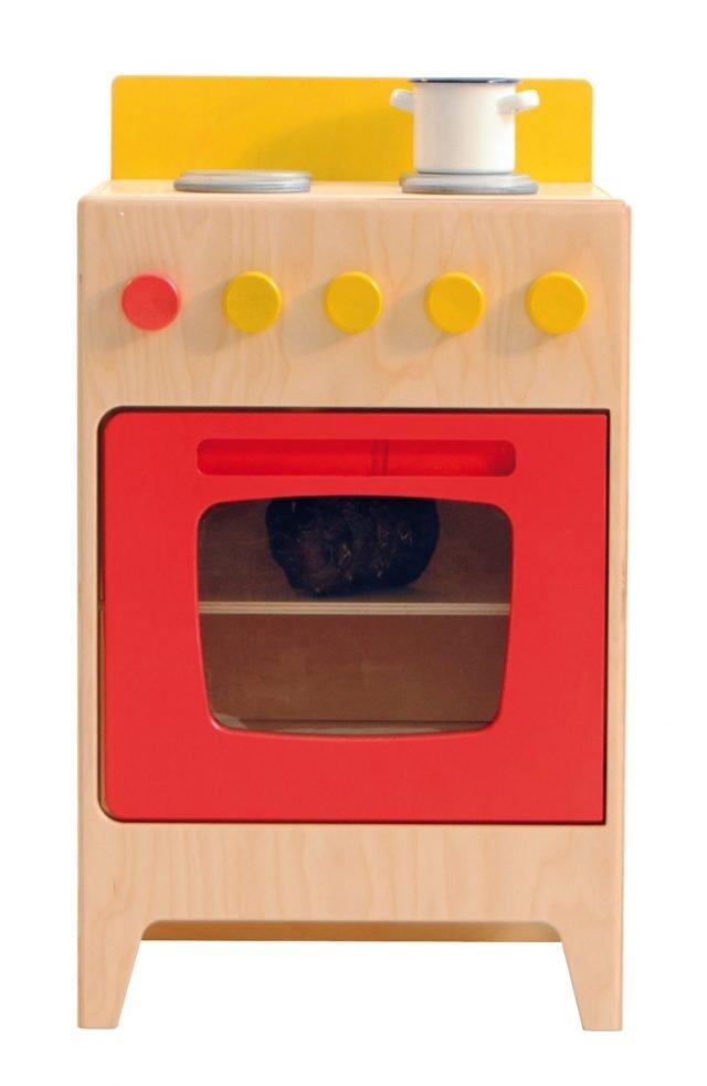 È realizzata in legno di betulla da 15 mm la cucina mobiletto-gioco della linea Erica di Raffetto, verniciata con vernice ad acqua. Misura L 40 x P 31 x H 60/68 cm. Prezzo 115 euro. www.raffetto.it