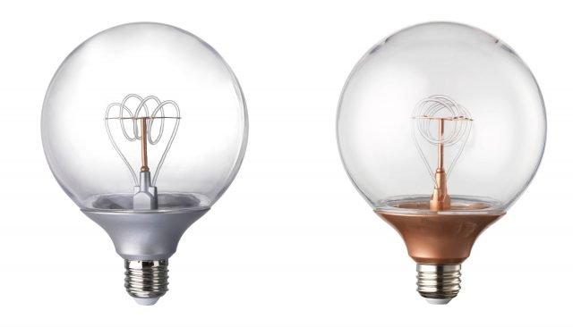 Classicamente rétro nell'aspetto, ma non nelle prestazioni tecniche, la lampadina a LED Nittio di Ikea per apparecchi con attacco grande E27 emette un flusso luminoso di 20 lumen. Disponibile con il globo in due differenti versioni cromatiche, color argento o color rame, sfrutta LED con una durata di 25.000 ore. Ø 12 cm. Prezzo 8,99 euro. www.ikea.it