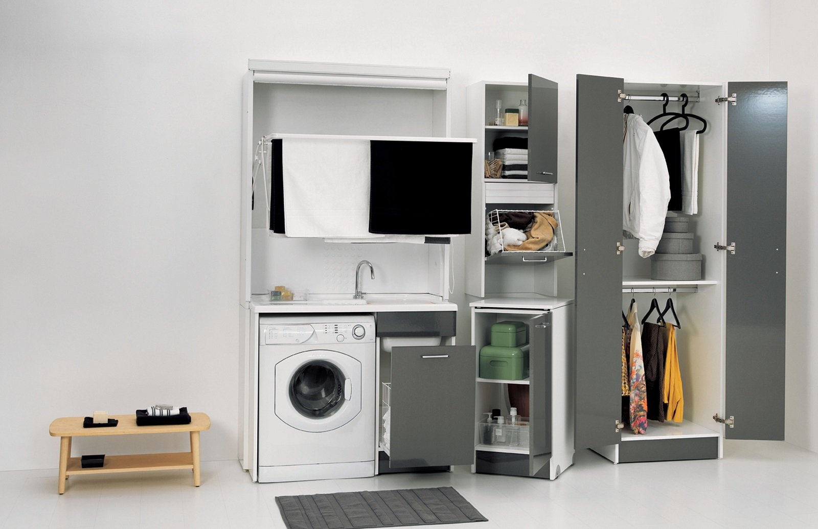 Mobile Per Lavatrice Moderno lavanderia in bagno: foto e composizione per nascondere
