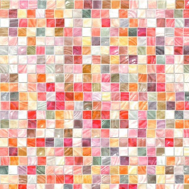 Tiles Mosaic Pearl di Leroy Merlin, pellicola adesiva effetto mosaico anche in azzurro. Misura 20×20 cm, vendute in confezioni di 3 piastrelle di 14,90 euro.www.leroymerlin.it