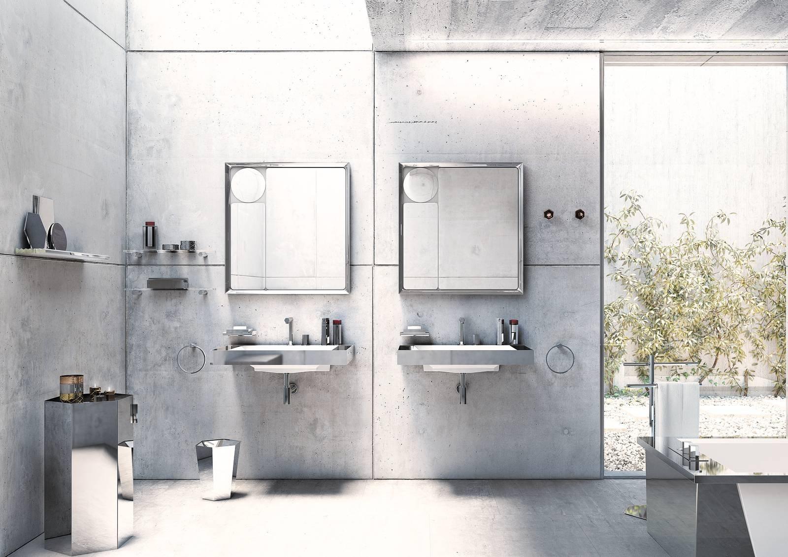 Bagno Chic Opinioni : Per un bagno chic finiture metalliche in grigio cose di casa