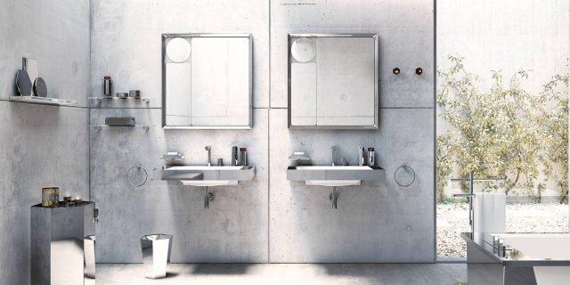 Per un bagno chic, finiture metalliche in grigio