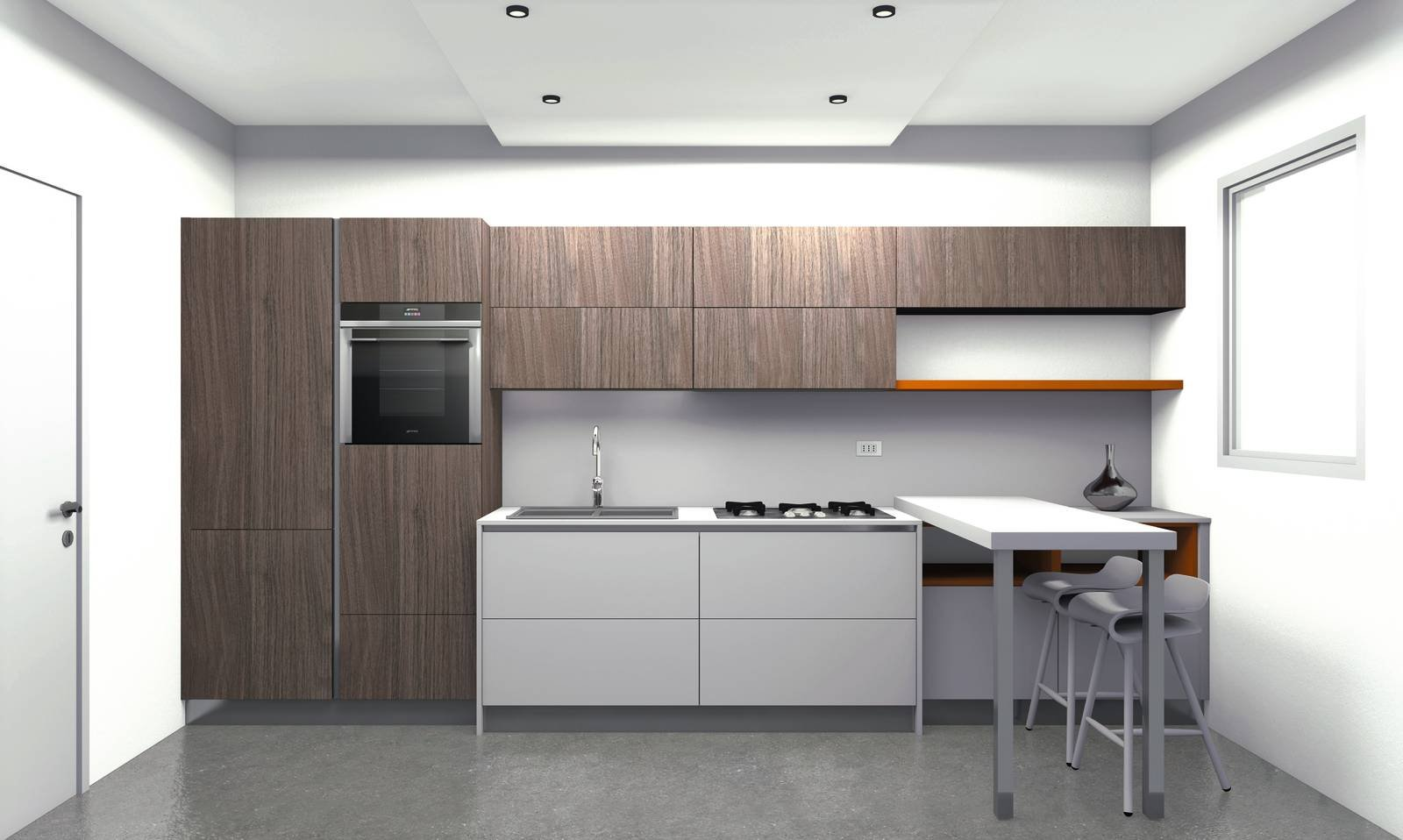Progettare Cucina 3d. D Open Space Render Zona Cucina With ...