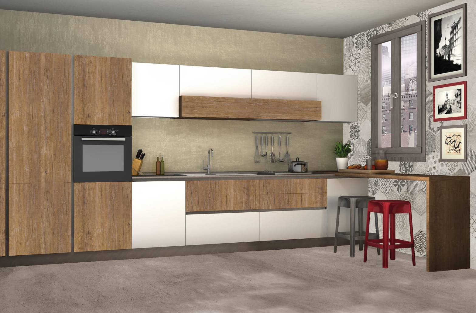 4 progetti cucina per 10 mq circa cose di casa for Progetto appartamento moderno