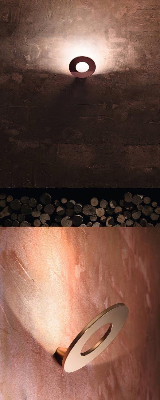 Lampada a led dimmerabile da interni, Passepartout di Cini&Nils è una applique circolare con struttura di alluminio pressofuso accoppiata a un disco con finitura rame (disponibile anche ottone e acciaio cromato, oltre a tinte smaltate) che ricorda l'eleganza della forma primaria degli anelli. Perfetta per una illuminazione indiretta e diffusa, misura Ø 22 cm, H 16 x P 17 cm e costa 319 euro più iva. www.cinienils.com