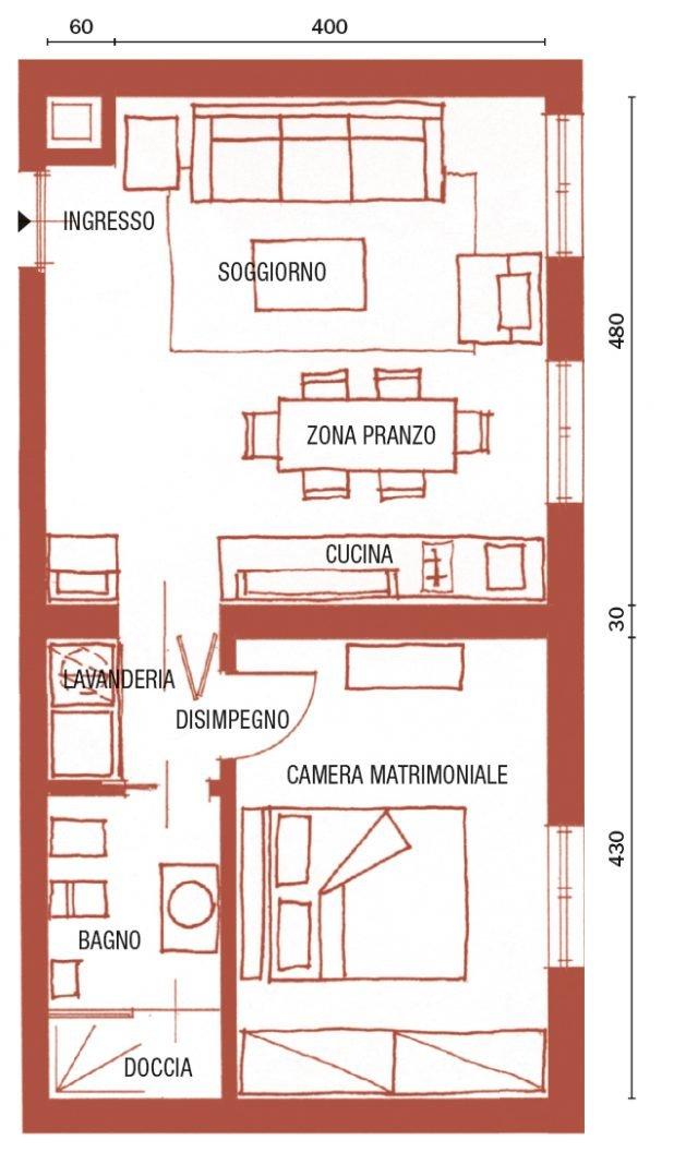 Bilocale di 43 mq mini spazi ben sfruttati nella casa for Planimetria stanza