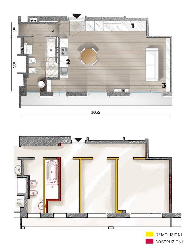 50 mq una casa open space per avere pi luce guarda i for Progetti di ristrutturazione appartamenti
