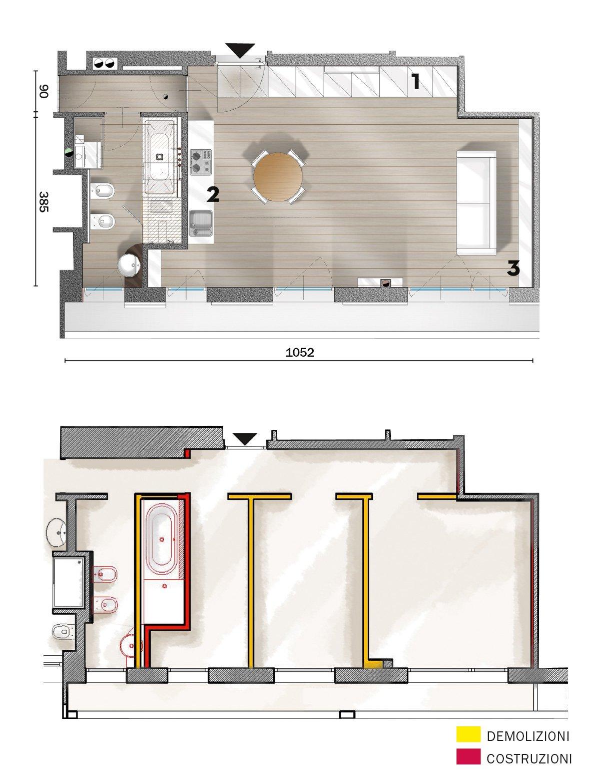 50 mq una casa open space per avere pi luce guarda i for Piccoli progetti di casa gratuiti