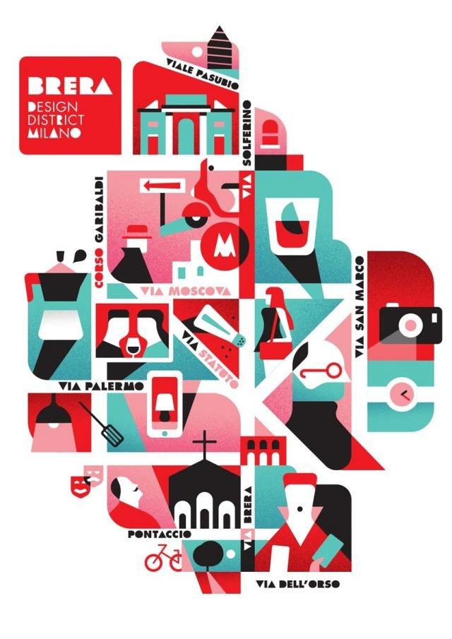 La mappa di Brera Design Disrict disegnata da Stefano Marra, giovane graphic designer e illustratore.