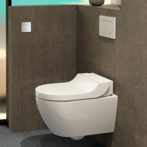 Geberit AquaClean Tuma. Il design lineare ed ergonomico lo rende versatile e facile da inserire in ogni stile di arredamento.