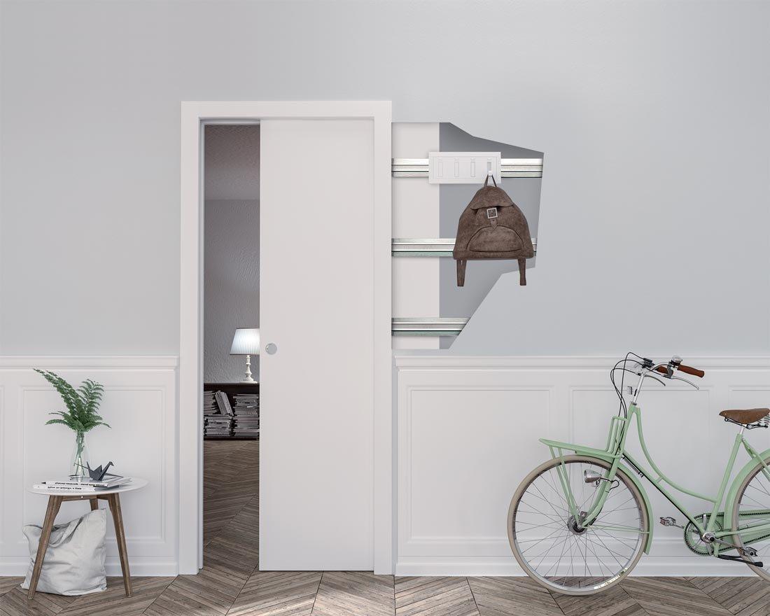 Come sfruttare la parete che ospita la porta scorrevole - Parete attrezzata con porta scorrevole ...