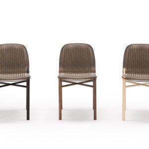 Field di Saintluc è la nuova sedia firmata da Philippe Nigro caratterizzata da un'unica scocca che contiene lino, un materiale insolito che la rende leggera e resistente allo stesso tempo. Lo schienale e la seduta sono decorate da scanalature che ricordano i terreni arati. Le gambe sono disponibili in metallo o in legno chiaro. www.saintluc.fr