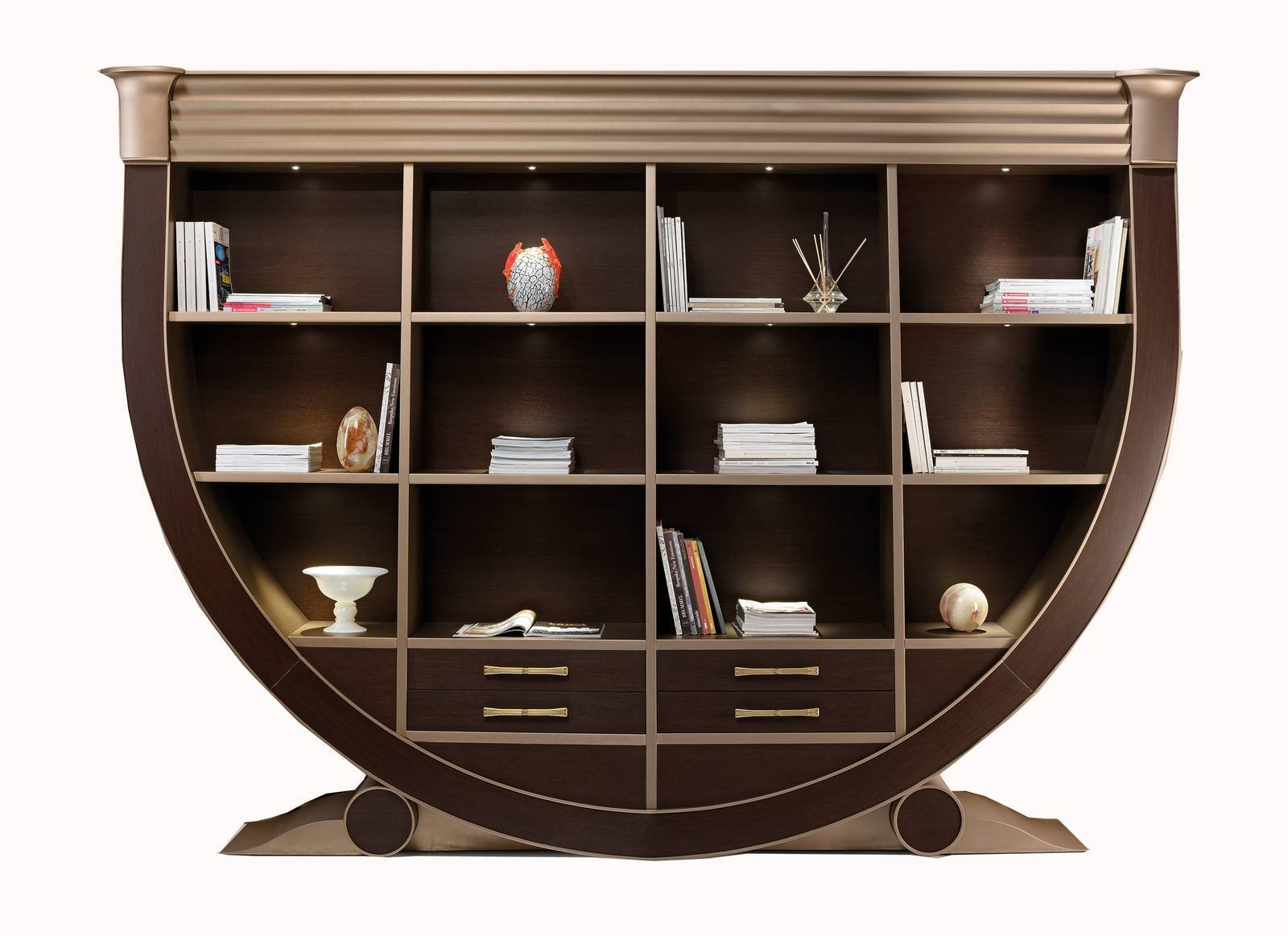 Libreria modulare in pietra acrilica wavy alivar