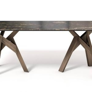 Jungle di Calligaris è il nuovo tavolo fisso con il doppio basamento formato da gambe a sezione triangolare che si incastrano e sono realizzate in legno massiccio di frassino  nella finitura rovere scuro. Il piano rettangolare è in ceramica accoppiata vetro con un raffinato effetto marmo nero. www.calligaris.it