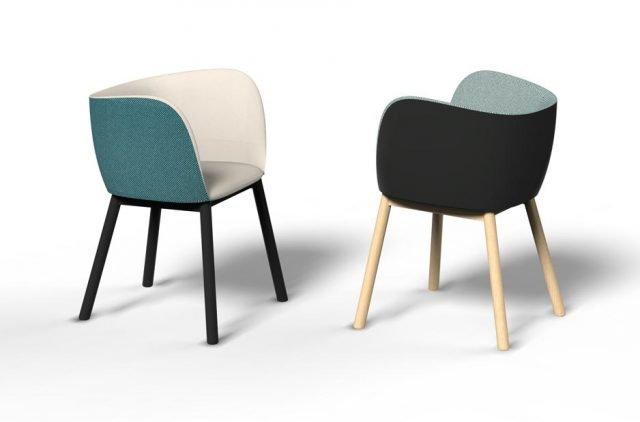 Mousse di Chairs & More è la nuova poltroncina che ha un design confortevole sottolineato dalla forma dello schienale che si modella su una morbida curva da un bracciolo all'altro. L'intera scocca è imbottita; il rivestimento è realizzato con materiali diversi per l'interno e per l'esterno: da un lato tessuto e dall'altro ecopelle in colorazioni in gradazione o in contrasto. Le gambe sono in faggio naturale o laccato. www.chairsandmore.it