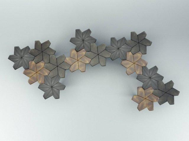 Ninfea di Daa Italia è il tavolino frutto dello studio matematico della tassellatura: infatti è formato da sei poligoni irregolari in metallo, tutti uguali tra loro, fissati ad uno stelo che permettono di accostarli all'infinito per creare composizioni personalizzate. www.daaitalia.com