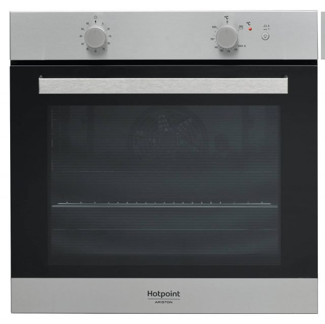 Dotato di ventilazione radiale di sicurezza il forno a incasso Classe 3 GA3 124 IX di Hotpoint misura L 59,5 x P 55,1 x H 59,5 cm. www.hotpoint.it