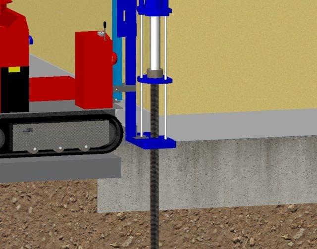 Intervento Lift Pile® di Novatek (infissione di micropali).