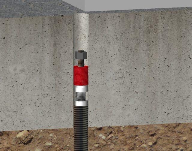 Intervento Lift Pile® di Novatek (inserimento dei dispositivo di precarica all'interno della fondazione).