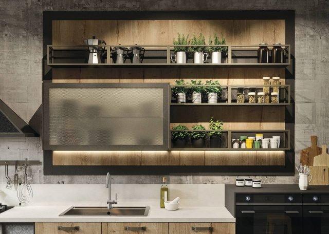 Dettagli della cucina Loft di Snaidero: contenitori a giorno con struttura in alluminio verniciato in finitura peltro e pensile in vetro retinato bronzo. www.snaidero.it
